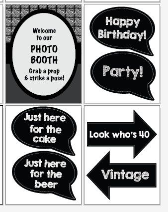 picture about Printable Photo Booth Props Birthday called 40th birthday image booth props PRINTABLE fourtieth get together