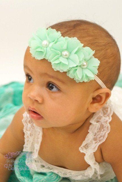 Newborn Infant Mint Chiffon   Lace Pearl Triple Chic Skinny Baby Headband    14073 674d1b1186d