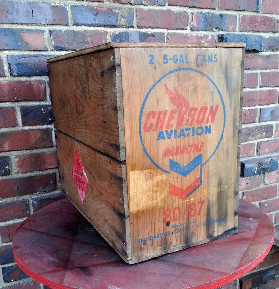 Vintage Chevron Aircraft Gasoline Wood Crate Mid Century Standard