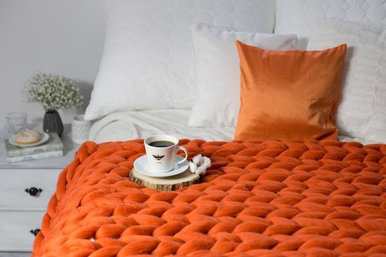 Photo of Chunky knit blanket, Knit blanket, Giant throw, Arm knitting, Chunky yarn, Merin…