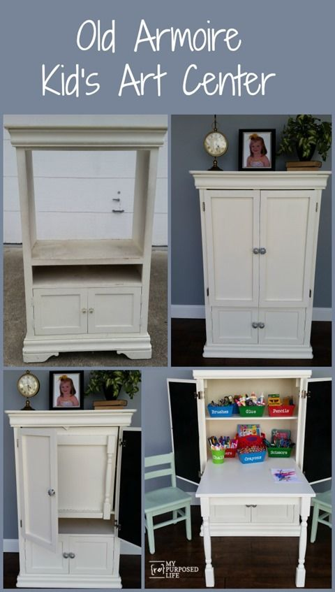 Kids Art Desk Repurposed Armoire | Art desk, Center table and Armoires