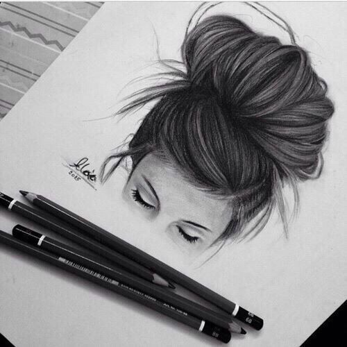 girl with messy bun drawings