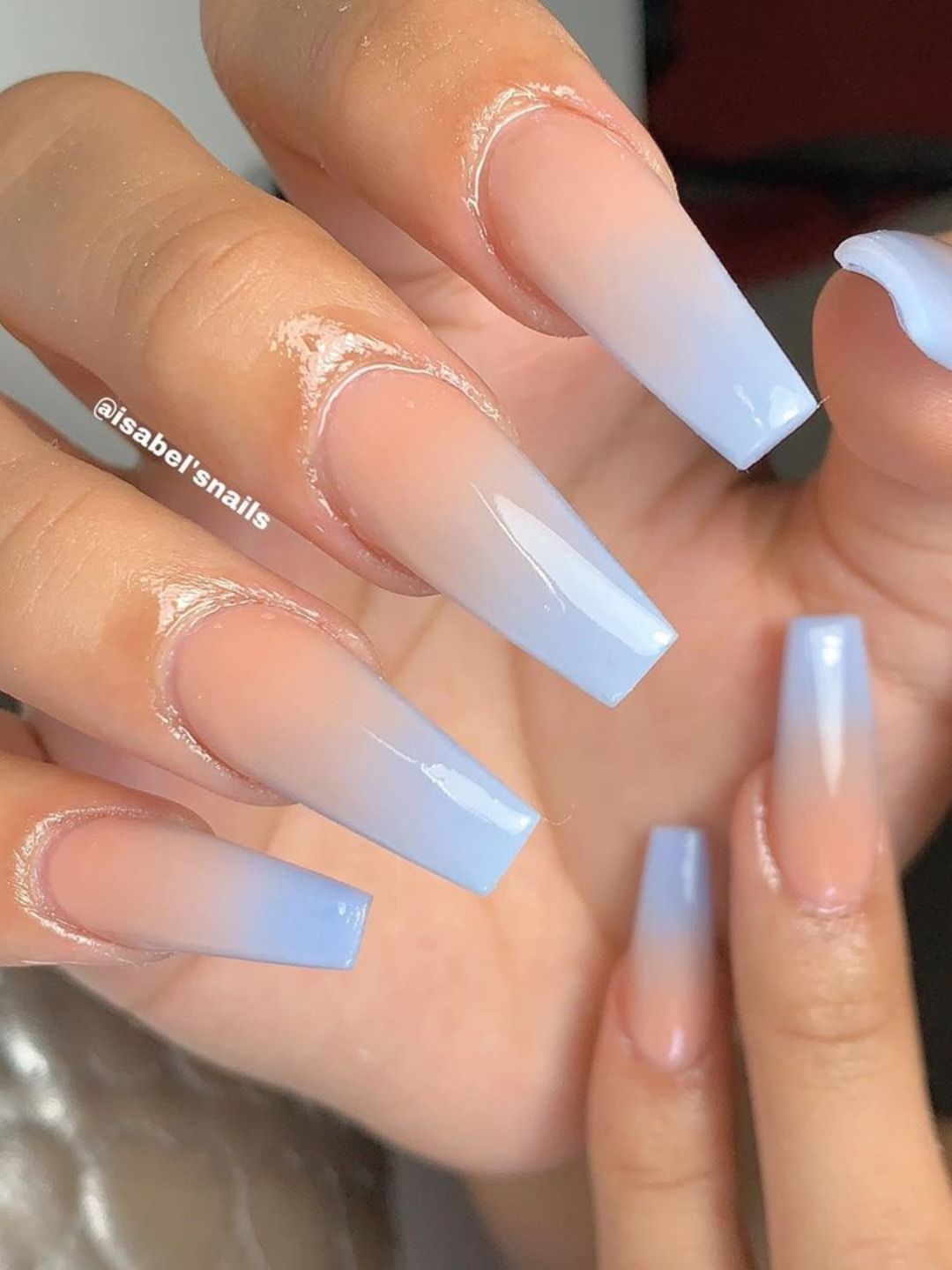 Cute Light Ombre Coffin Nails Design Pink Ombre Nails Blue Acrylic Nails Blue Ombre Nails