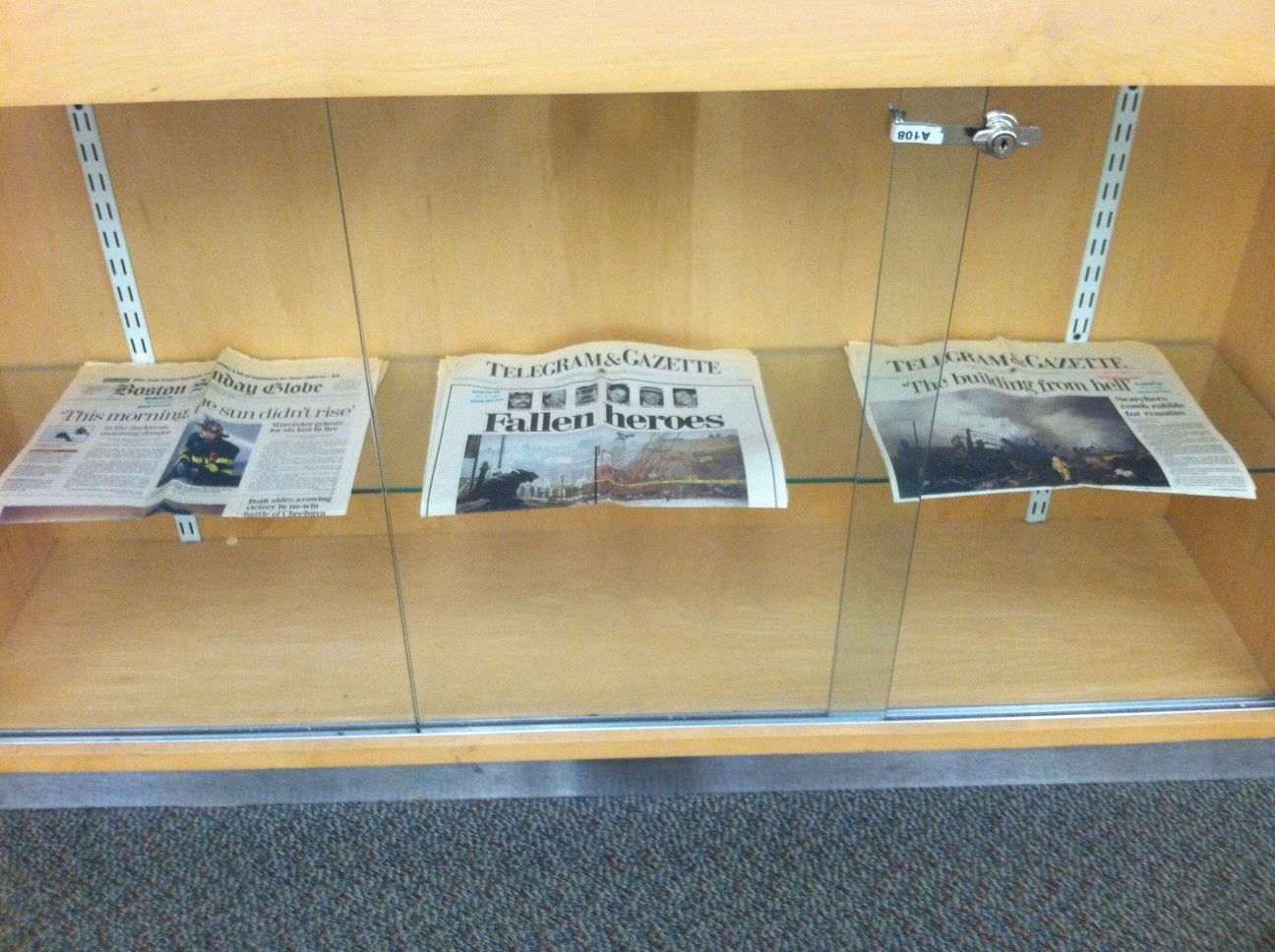Three newspapers from the Boston Sunday Globe and the Worcester Telegram & Gazette