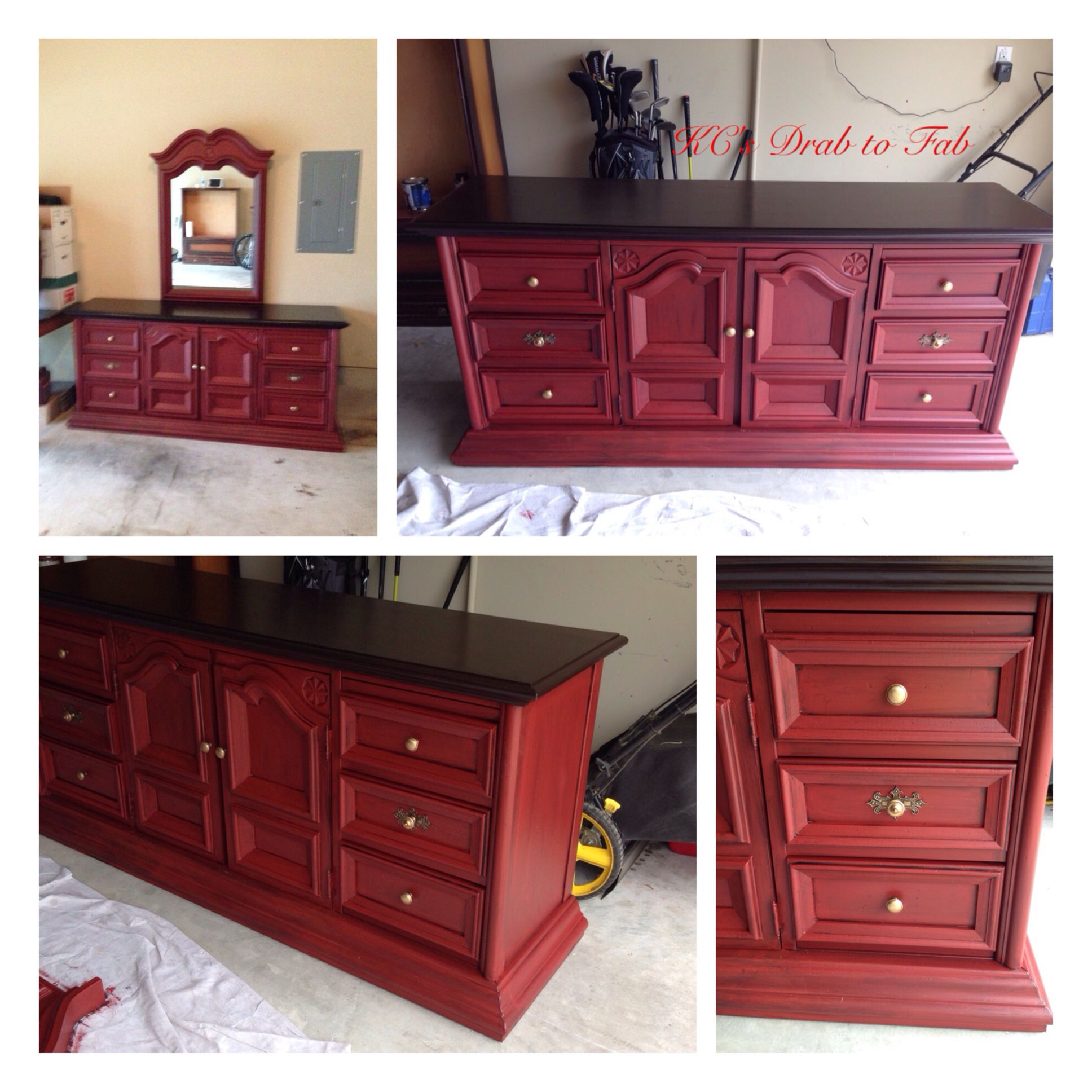 Used General Finishes Brick Red Milk Paint and GF Black Glaze