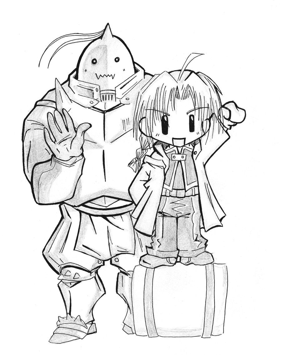 chibi ed and al of fma by cavaferdi lineart fullmetal alchemist