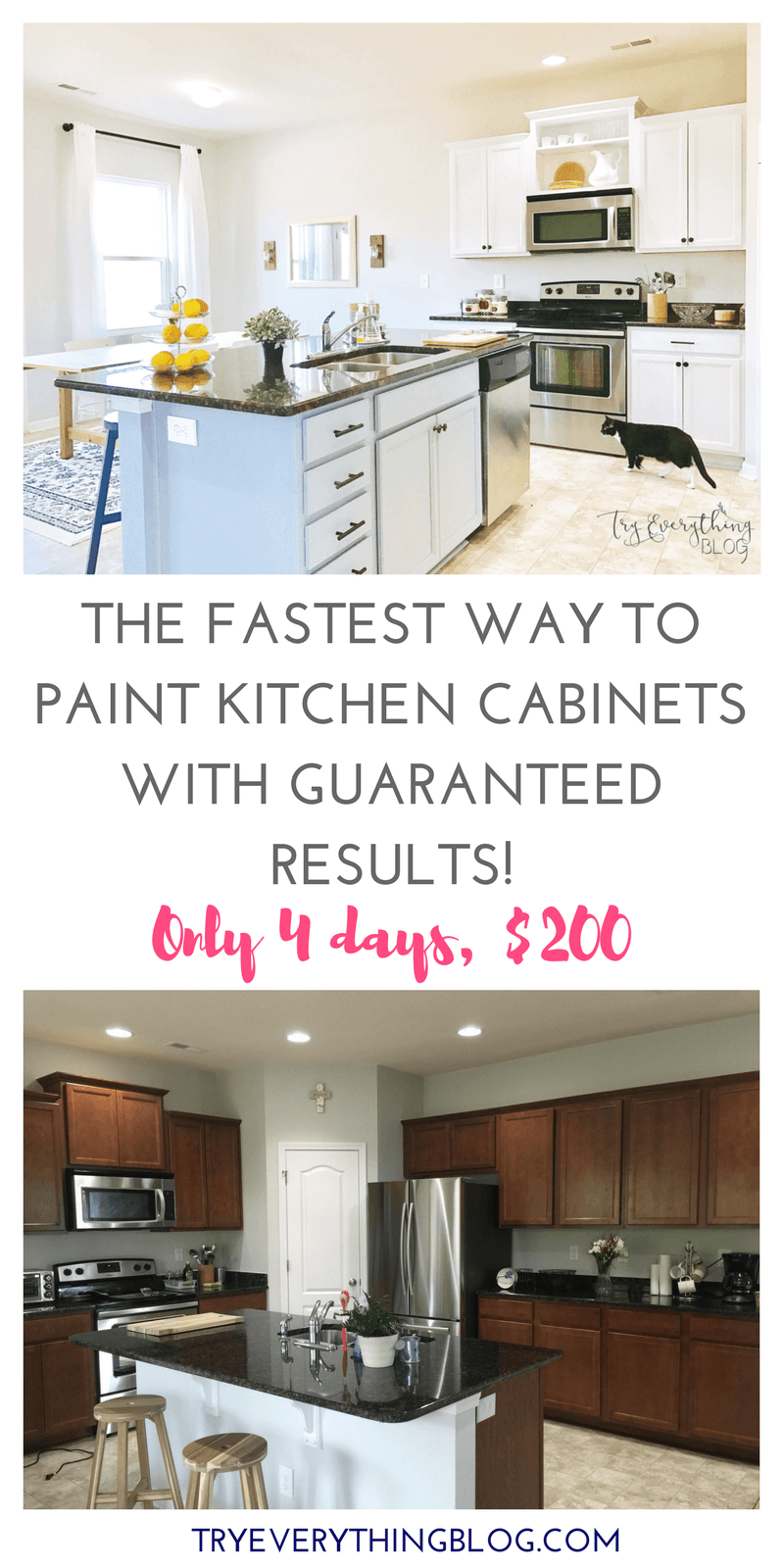 The Fastest Way To Paint Kitchen Cabinets With The Best Results 4 Days Less Than 200 Try Everything Painting Kitchen Cabinets Painting Kitchen Cabinets White New Kitchen Cabinets