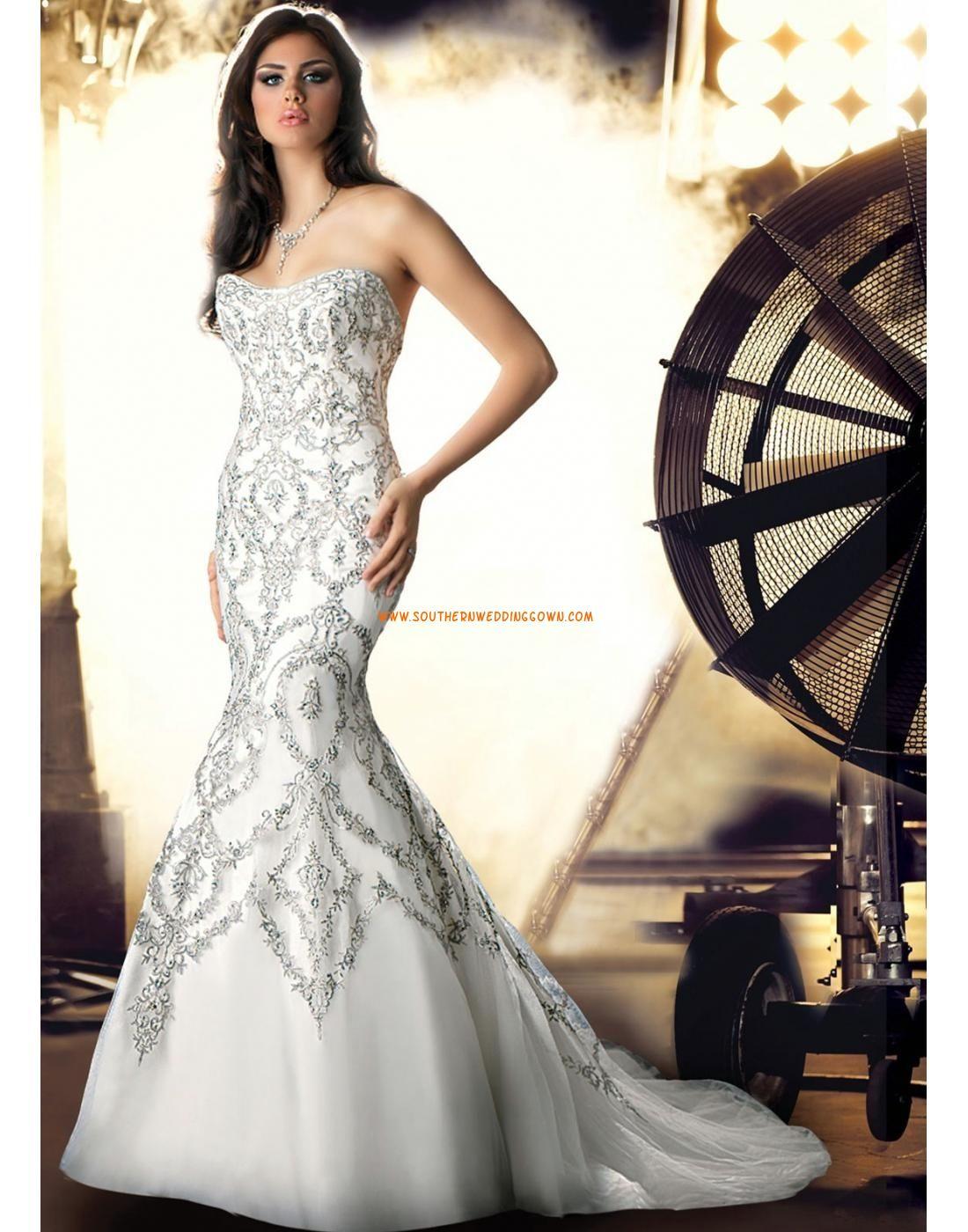 Sweep Släp Vintageinsprirerad Axelbandslös Bröllopsklänningar 2014