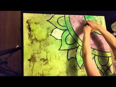 Flat Mixed Media Canvas (time lapse) - YouTube