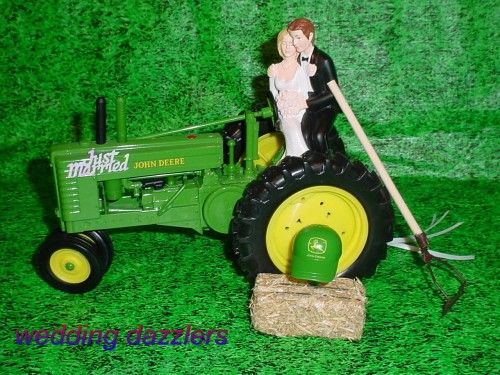 Big Green Tractor John Deere Groom Wedding Cake Topper Country Farm ...