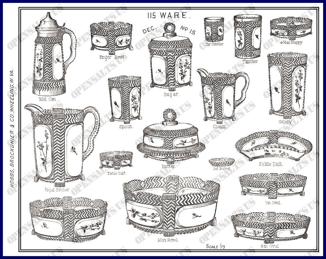 Gillinder Glass Hobbs Brockunier C 1880s Pottery Marks Vintage Crystal Glass Blowing