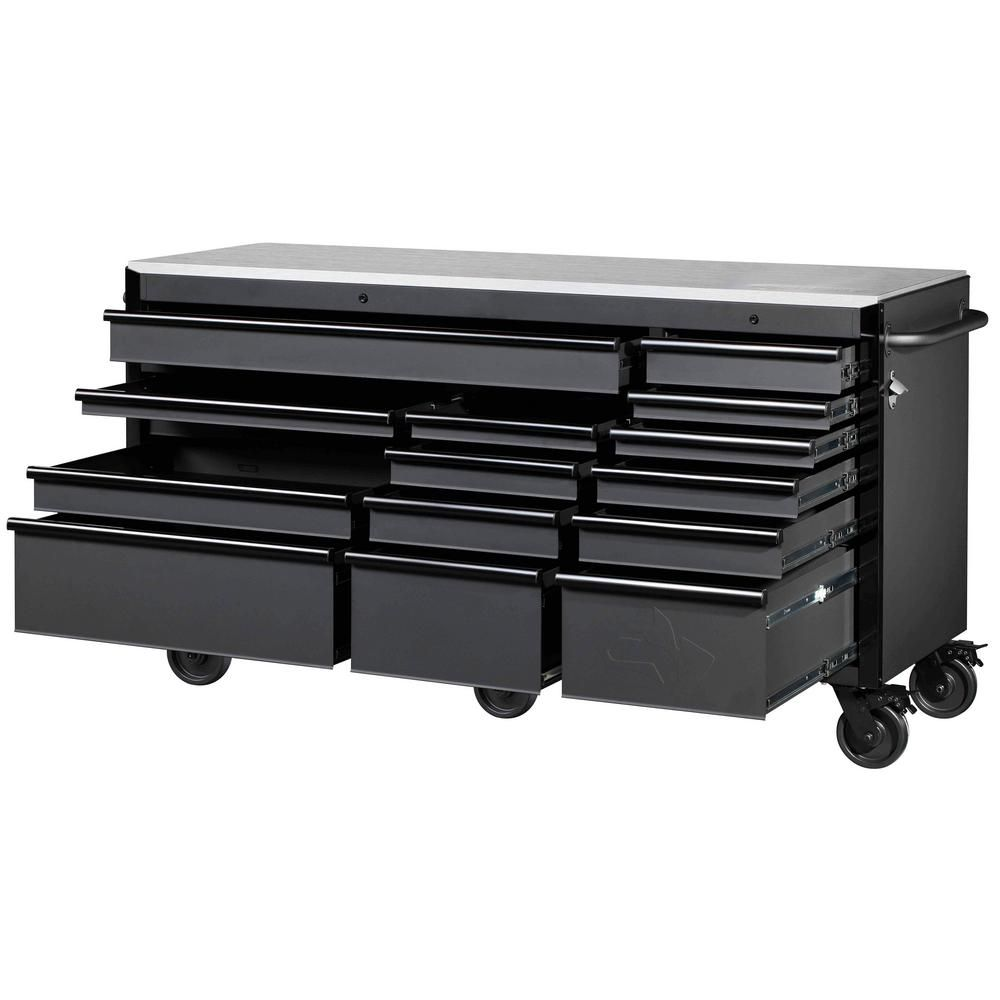 Husky Heavy Duty 72 In W 15 Drawer Deep Tool Chest Mobile Workbench In Matte Black With Stainless Steel Top And Dual In 2020 Mobile Workbench Tool Storage Tool Chest