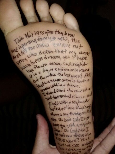 Dream within a dream written on foot :) #gotbored | Tattoo ...