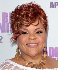 Tamela J Mann Short Curly Red Hairstyle With Side Swept Bangs And Blonde Highlights Hair Styles 2014 Hair Styles Cool Hairstyles