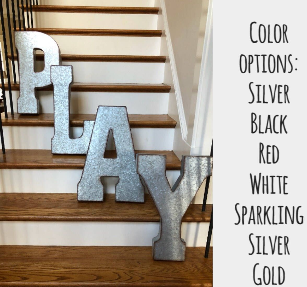 Extra Large Metal Letters Pick Color Word Play Galvanized Metal Letters Xxl Business Letters 20 Inch Metal Letters Wall Letters Large Metal Letters Metal Wall Letters Metal Letters