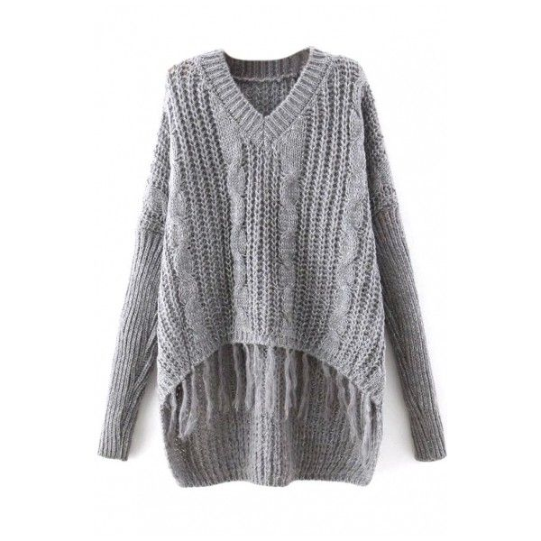 Plain V-Neck Cable Knit Tassel Hem Dip Hem Sweater (€19) ❤ liked on Polyvore featuring tops, sweaters, chunky cable knit sweater, cable sweater, vneck sweater, vneck tops and tassel top