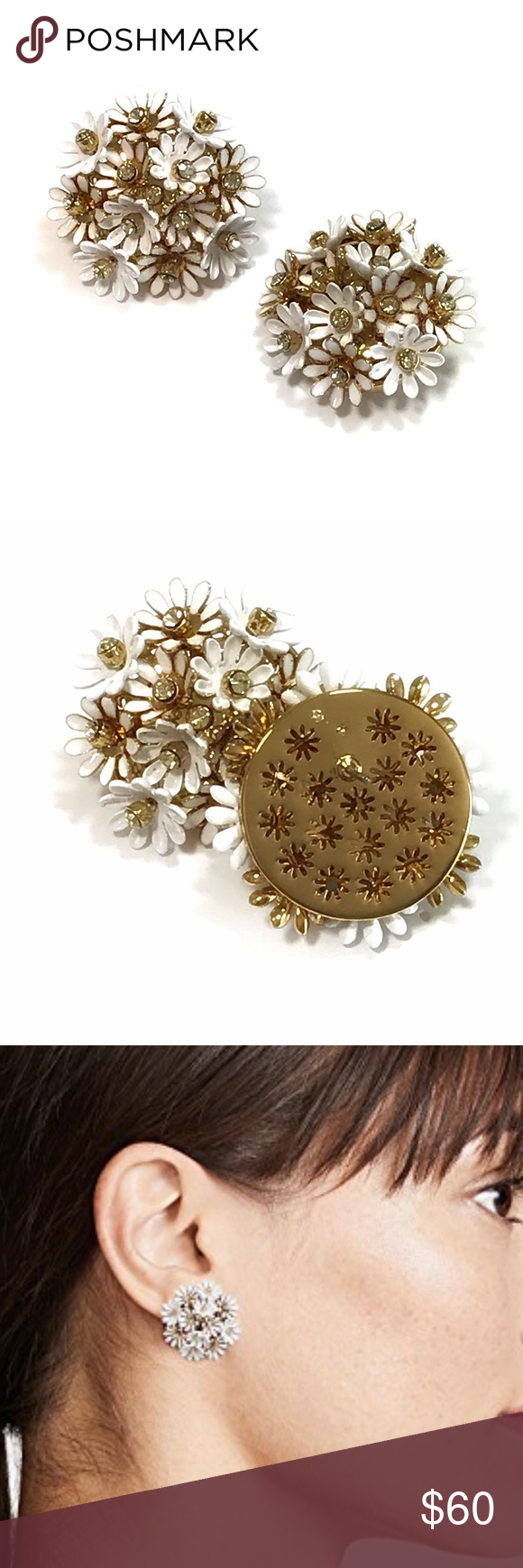 b7e810511651af Kate Spade Love Me Love Me Not Statement Studs From the Loves Me Loves Me  Not Collection. Clustered daisy embellishments adorn stud earrings.