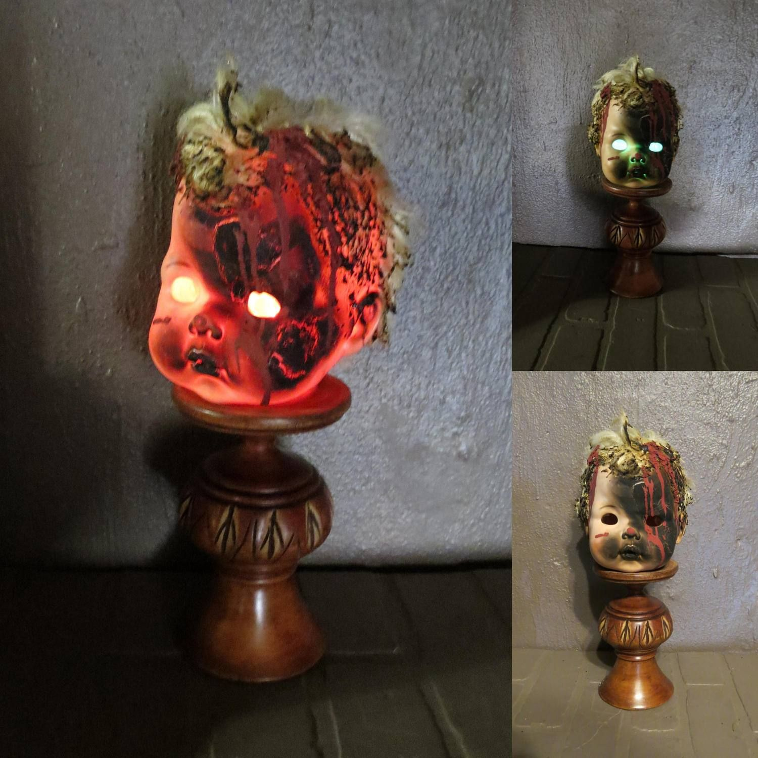 creepy doll head light up halloween decoration battery operated repurposed doll candle holder baby doll - Light Up Halloween Decorations