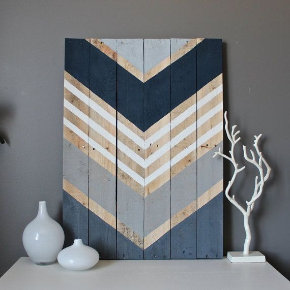 Modern Chevron Wood Wall Art Sign Navy, Shades Of Gray And White Adorn This  Reclaimed Wood Art Piece. This Large Piece Is Completed Art Piece Will Vary  ...
