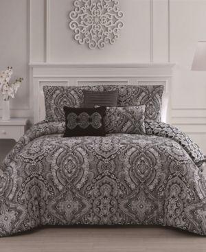 Kari 6 Pc Queen Comforter Set Black Comforter Sets Comforters