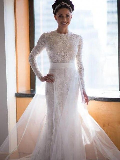 Monique Lhuillier Long Sleeve Size 4 Wedding Dress – OnceWed.com ...