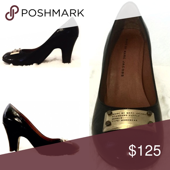 Patent Pump. Marc By Marc Jacobs. Black Patent Leather. Brushed Gold Hardware. Marc by Marc Jacobs Shoes Heels