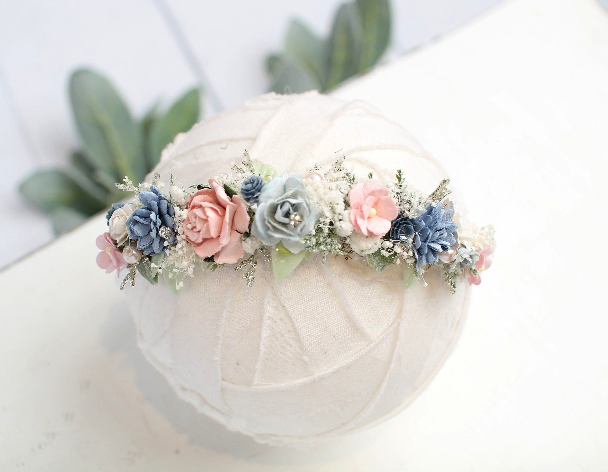 Wonderland  dainty floral halo headband in light blue dusty blue pink blush ivory champagne with pearls and diamonds RTS  Winter Wonderland  dainty floral halo headband i...