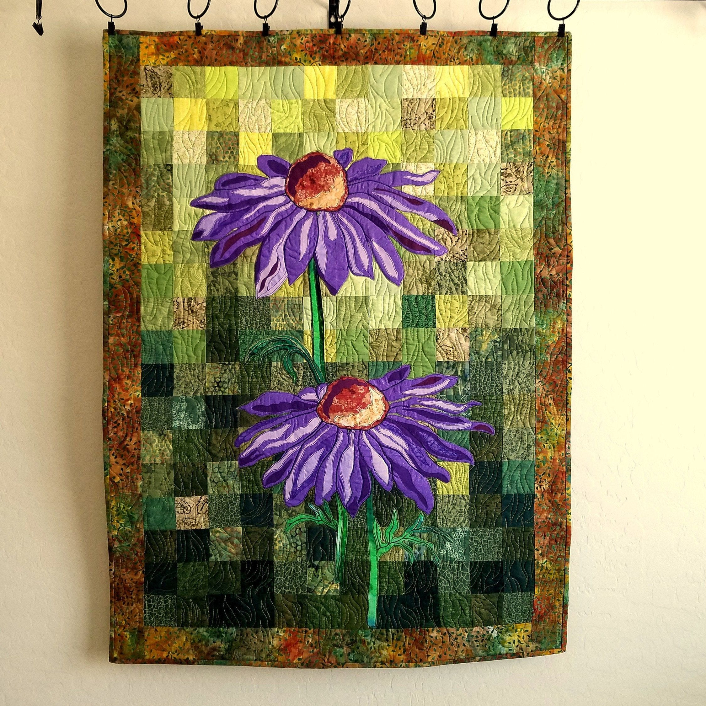 Purple Coneflowers Art Quilt Floral Wall Quilt Purple Green Quilted Wall Hanging Landscape Quilt Applique Flowers On Patchwork 27 5 W X 38 H Art Quilts Wall Quilts Quilted Wall Hangings