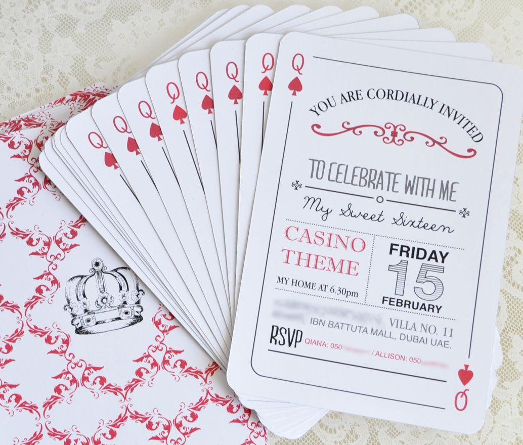 Quaint Queen Of Diamonds Invitations For A Casino Night In