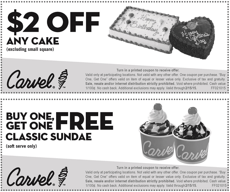 graphic about Carvel Coupon Printable named Pinned February 13th: Instant ice product sundae cost-free at