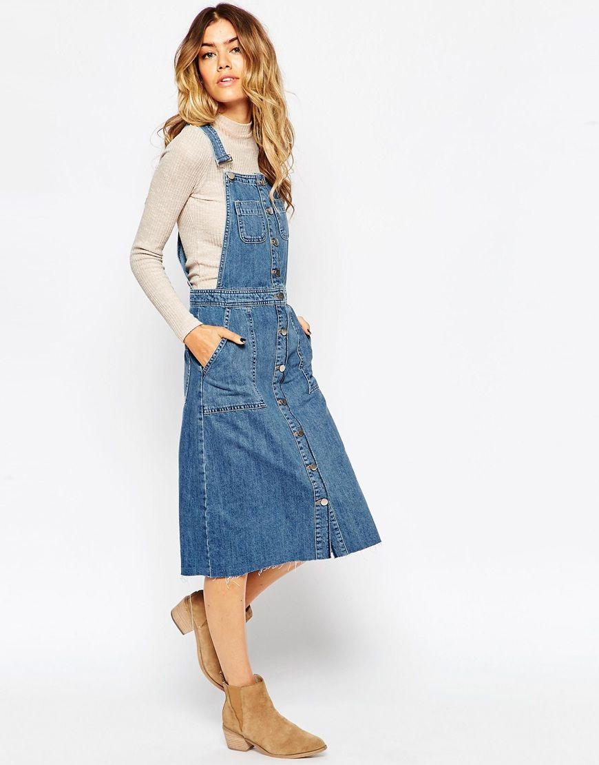 950d076bca7 Denim Midi Pinafore Dress With Raw Hem | denim dresses | Midi ...
