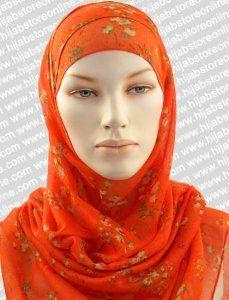 Hijab - Water Colour - Orange Maxi