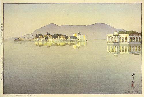 Island Palaces in Udaipur  by Hiroshi Yoshida, 1932