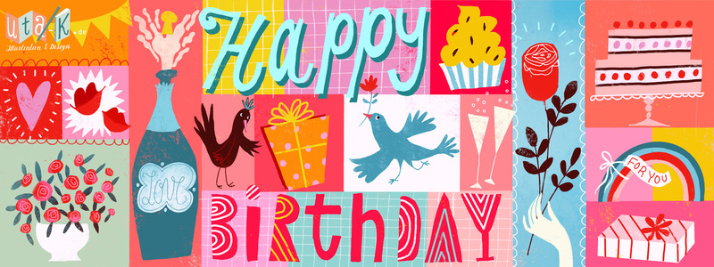 Handpicked Design Challenge They Draw Cook Happy Birthday Floral Happy Birthday Wholesale Greeting Cards