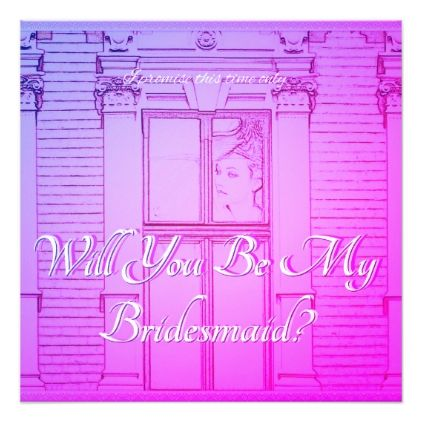 Will You be My Bridesmaid? Pink color tones card - bride to be gifts bridal wedding ideas cyo diy