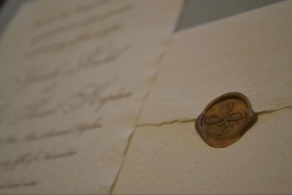 Wax seal style invitations from Oblation Papers' Waltz Suite