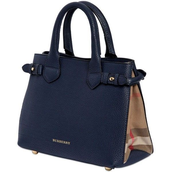 892163c3037f BURBERRY Small Banner Grained Leather   Check Bag (28