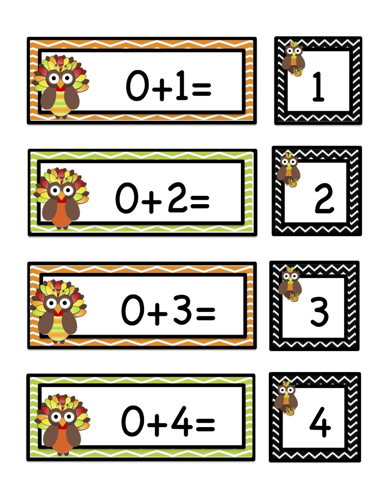 Thanksgiving Owls Number Printable