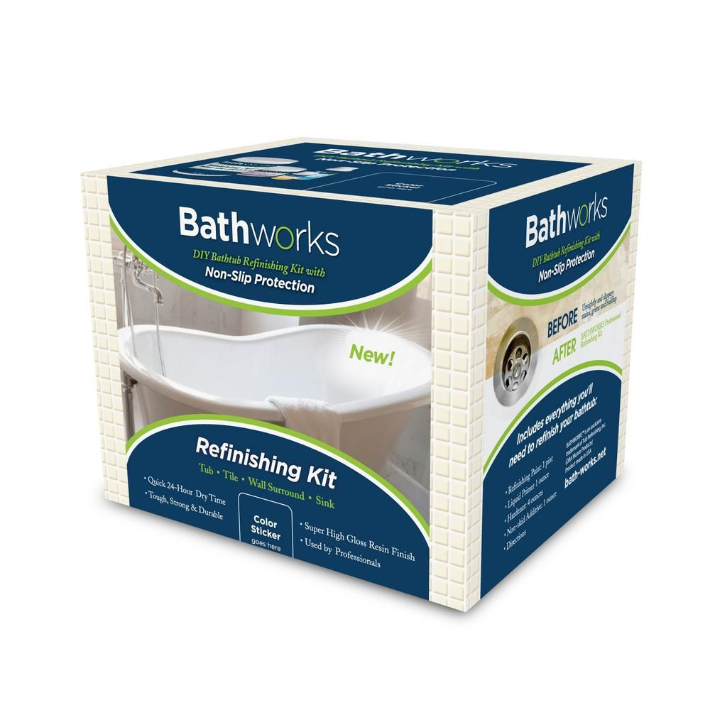 Bathworks 22 oz diy bathtub refinish kit with slipguard
