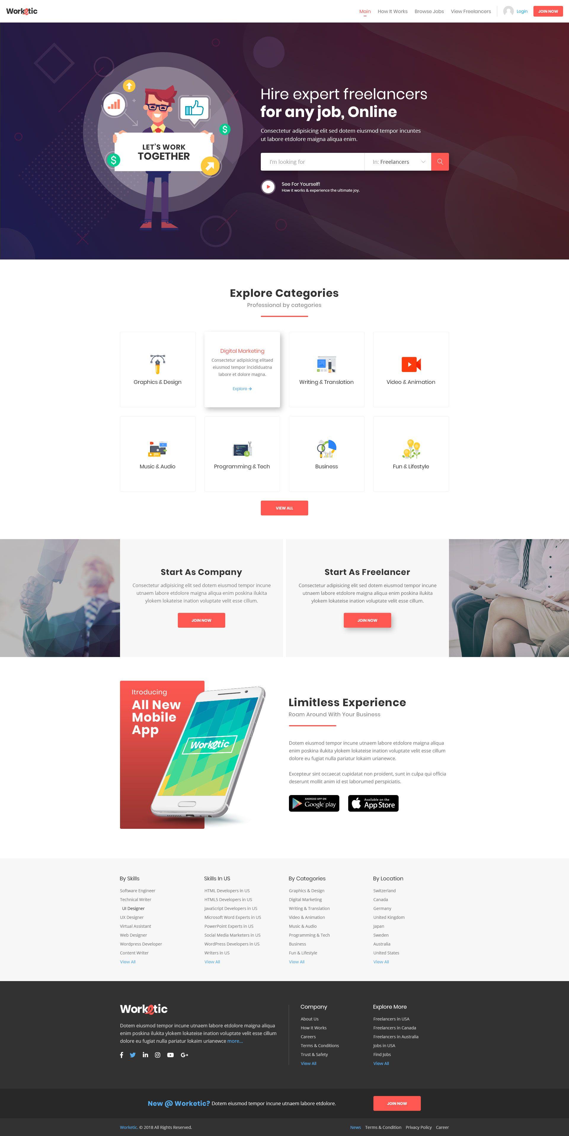 Worketic Marketplace For Freelancers Web Design Quotes Landing Page Design Web Design