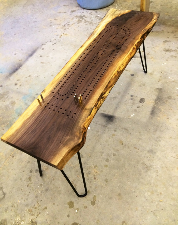 Cribbage board table made from live edge walnut with steel legs. $275 +  $130SH - Game Table, Cribbage Board Coffee Table, Early American Minwax