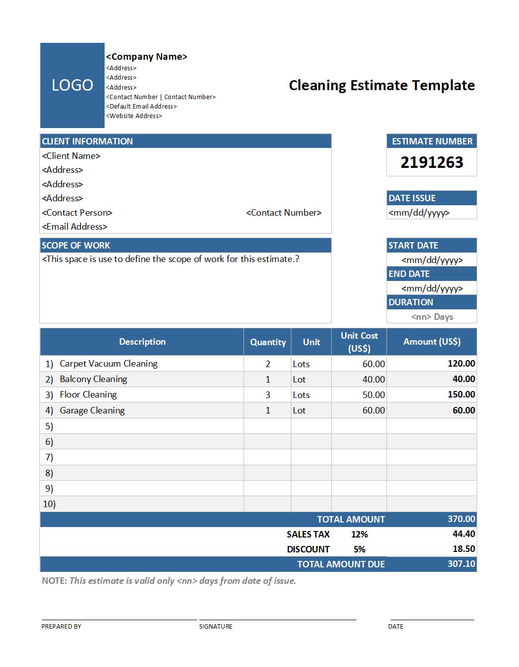 Download Cleaning Estimate Template V2 Estimate Template Templates Estimate