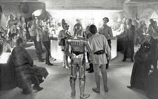 The wretched hive of scum and villainy that is the Mos Eisley cantina.