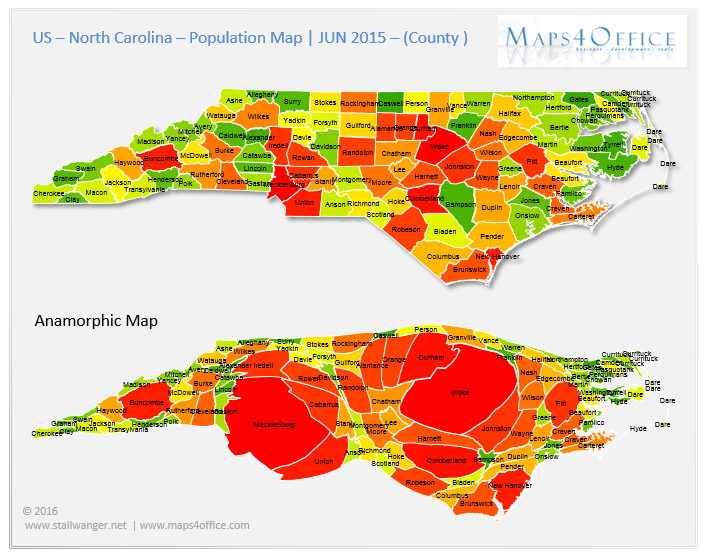 US North Carolina Map County population density North carolina map