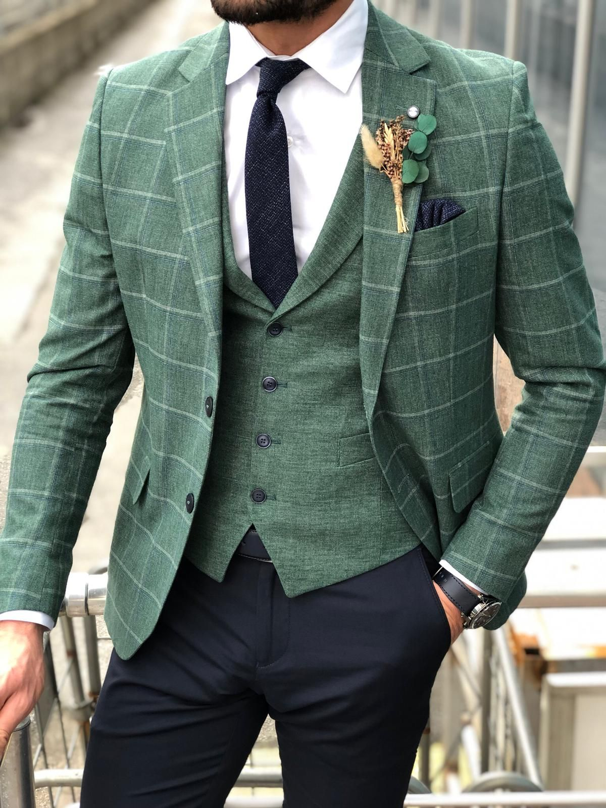 Buy green slim fit plaid suit by with in 2020