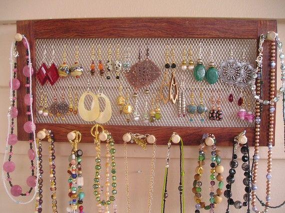 Wall mount jewelry organizer bubinga woodworking earring holder