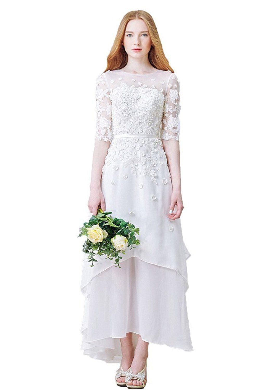 Snowskite womenus highlow chiffon beach wedding evening party dress