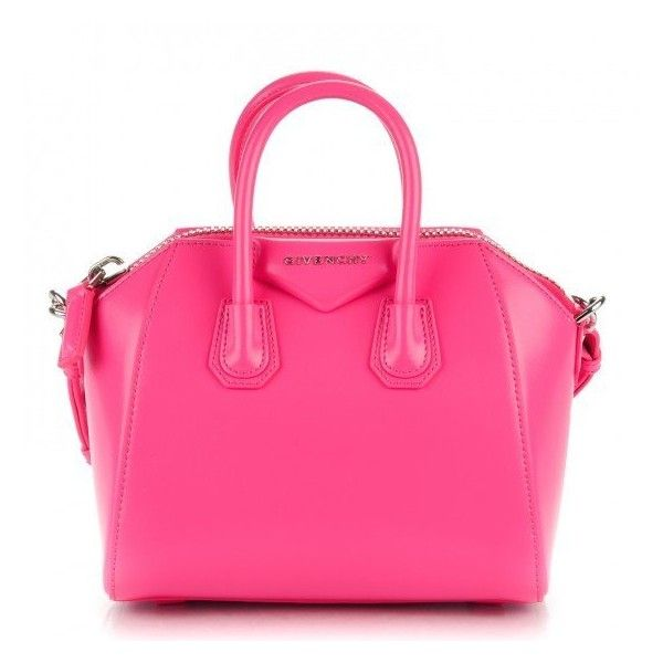 56590ccecf GIVENCHY Shiny Lord Calfskin Mini Antigona Hot Pink ❤ liked on Polyvore  featuring bags, handbags, hot pink handbags, mini purse, mini tote handbag,  ...