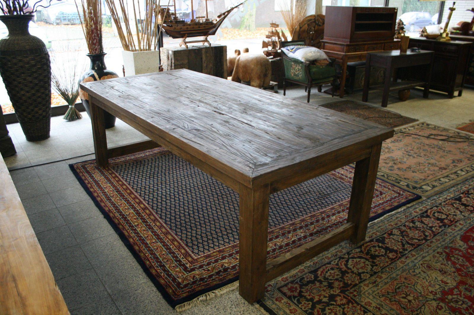 Tisch 2,5x1,1m Esstisch Küchentisch Konferenztisch groß massiv Teak ...