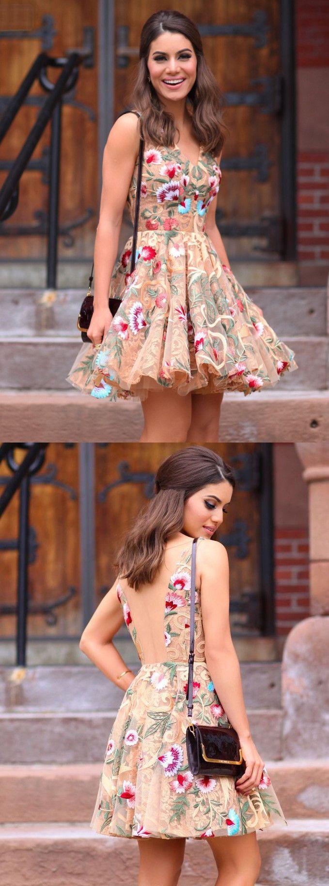 Heiß Kurz V-Ausschnitt Bunte Blumen Cocktailkleid | Hoco dresses ...
